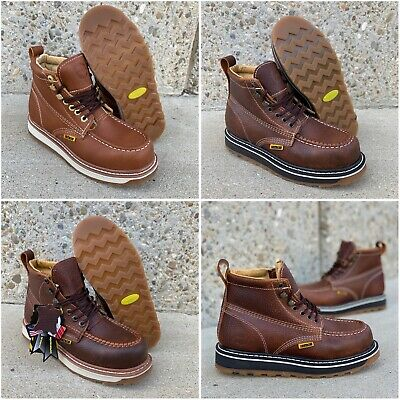 """Men's 6"""" Soft Moc Toe Safety Oil Slip Resistant Waterproof Leather Work Boots#61"""
