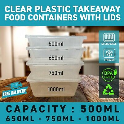 50 x Clear Plastic Takeaway Food Containers with Lids Microwave & Freezer Safe