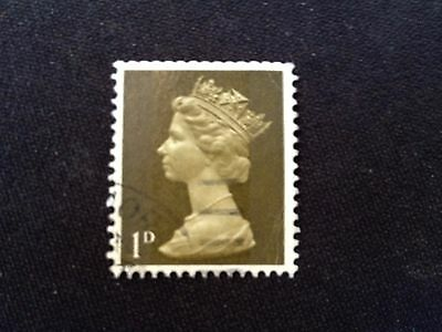 Gb 1968 Sg725 Queen Elizabeth Ii Definitive 1D Machin Yellowish Olive Used Qeii