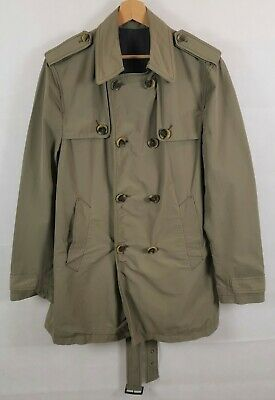 TIGER OF SWEDEN Trench Coat Mens Double Breasted Button Olive Men Size 50/ UK 40