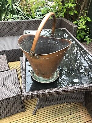 Antique Art Nouveau Arts Crafts Copper Coal Helmet Shape Scuttle Bucket