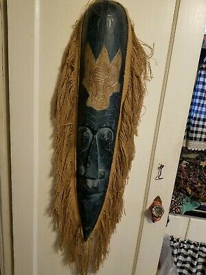 """Hand Carved Wooden Tribal Mask Wall Art Jute Fringed 40"""" Wall Hanging"""