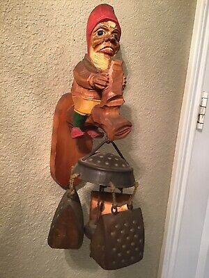 Vintage Hand Carved Folk Art Wooder Gnome Wind Chime