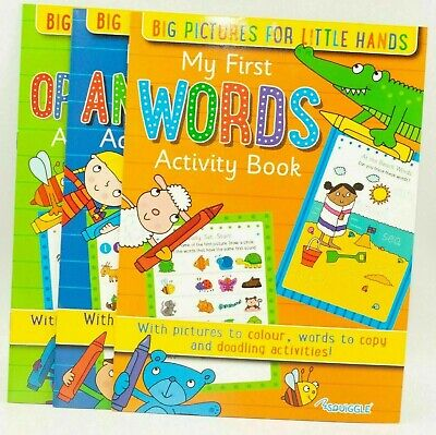 Kids A4 Learn To Write My First Opposites, Words & Animals Activity Book FREE PP