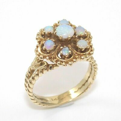 14K Yellow Gold Opal Cluster Flower Ring Size 7.5  GGJ