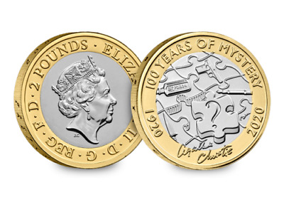 2020 Agatha Christie £2 Two Pound BU Coin Brilliant Uncirculated Certified Pack.