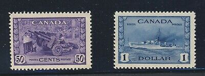 2x Canada MH WWII Stamps #261-50c MH  #262-$1.00 MH Guide Value = $120.00