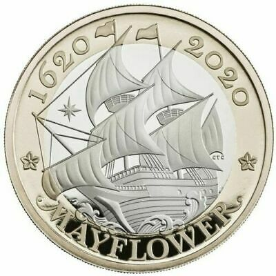 2020 Mayflower £2 Two Pound BU Coin Brilliant Uncirculated In Certified Pack.