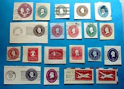 Lot of 20 Different Used Embossed Envelope US Postage Stamps as shown