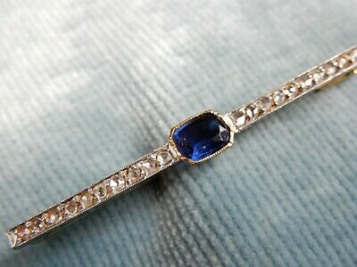 A Superb Antique 18 Ct Gold Art Deco Sapphire And Diamond  Brooch