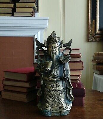 Vtg Large Chinese Solid Brass Copper God of Wealth Statue Figure Old Heavy Piece