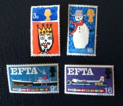 Great Britain QE II 1966 Christmas and EFTA mint sets stamps