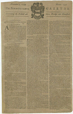 Benjamin Franklin's Newspaper re: Virginia's Call to Arms; French and Indian War