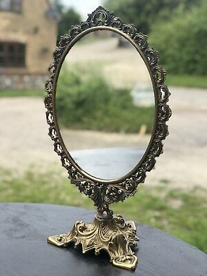 Superb Antique Decorated Brass Dressing Table Mirror