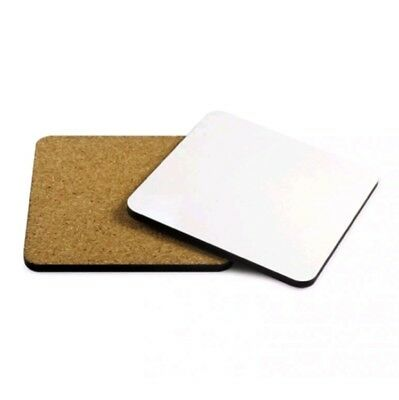 SUBLIMATION COASTERS X 50 Square Blank 9.5cm x 9.5cm cork backed Glossy