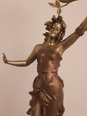 An Early 20th Century Art Deco French Spelter Lamp Of Lady On A Fish