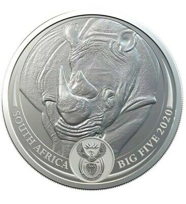 RHINO  - SOUTH AFRICA BIG FIVE  2020 , 5 Rand 1 oz BU Silver Coin