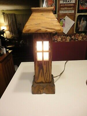 """Vintage Hand Carved Wooden Night Light Tabletop Table Lamp 15 1/2"""" Tall"""