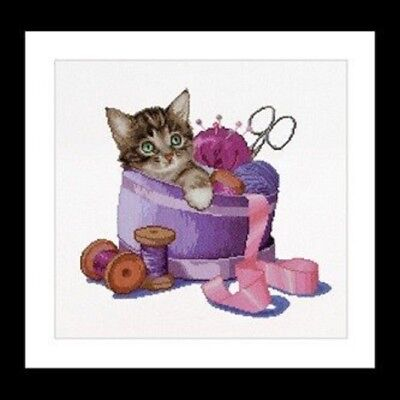 Sewing Basket Kitten Cross Stitch Chart