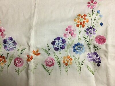 Beautiful Vintage Hand-Embroidered Linen Tablecloth,Rectangular, 48x67,Scalloped