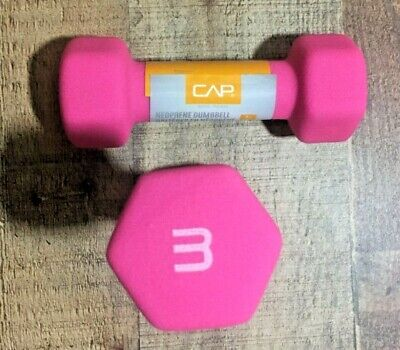 CAP Neoprene Dumbbells 3lbs Pink Pair Hex Weights Workout 3 Pounds Dumbells