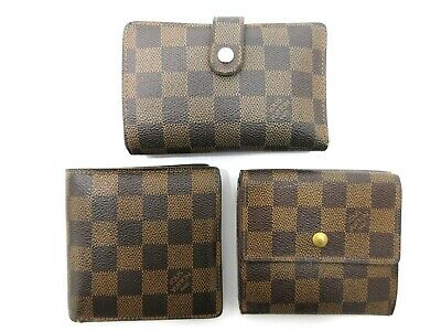 Authentic 3 Item Set LOUIS VUITTON Damier Wallet PVC Leather 83903