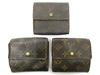 Authentic 3 Item Set LOUIS VUITTON Monogram Wallet PVC Leather 83897