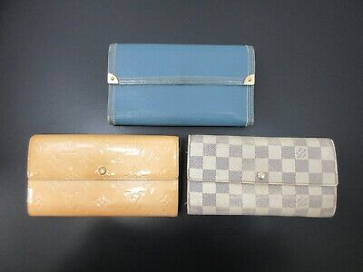 Auth 3 Item Set LOUIS VUITTON Vernis Damier Azur Suhali Long Wallet 82183