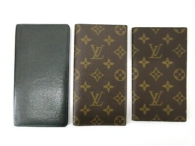 Auth 3 Item Set LOUIS VUITTON Monogram Taiga Agenda Long Bifold 82683