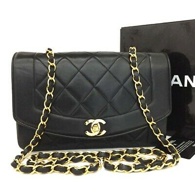 CHANEL Quilted Matelasse Diana 22 CC Logo Lambskin Chain Shoulder Bag /ee238
