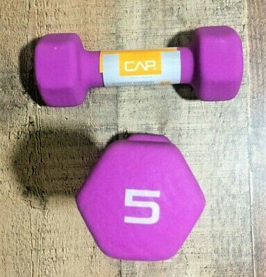 CAP Neoprene Dumbbells 5lbs Purple Pair Hex Weights Workout 5 Pounds Dumbells