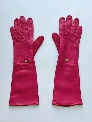 GIORGIO ARMANI Women's Leather Pink Long Gloves Size M