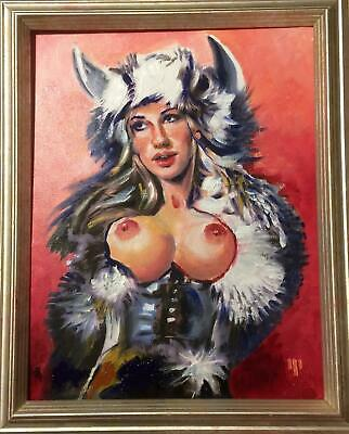FRAMED Nude Oil Painting    Sigrid The Viking