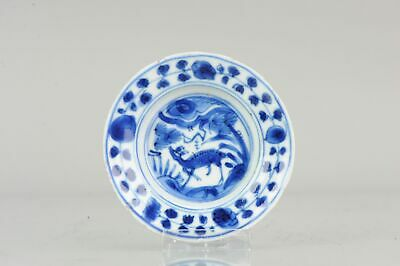 Antique Chinese Wanli Small Kraak Plate Deer Porcelain Ming Snuff Tabacc...
