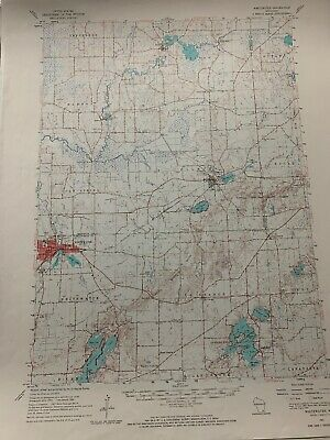 "1960 Whitewater Wisconsin 17"" X 21"" Unfolded Topographic Map"
