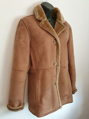 Jacket 10 tan faux suede. Polyester. Warm & comfortable. Excellent condition.