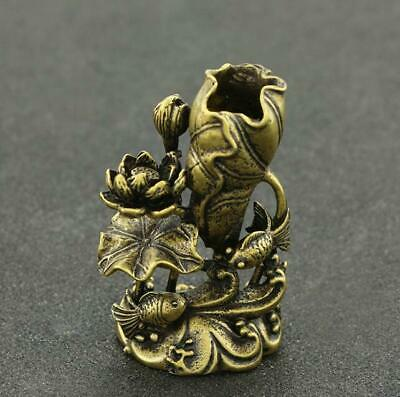 Exquisite China Old Pure Brass Handwork Goldfish lotus statue collectable /Vb01