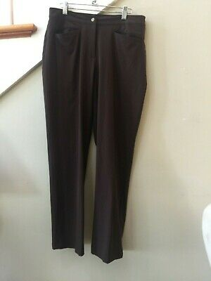 Euc Zenergy By Chicos Dark Brown Polyester  Pants W. Elastic Waist Size 1-Reg