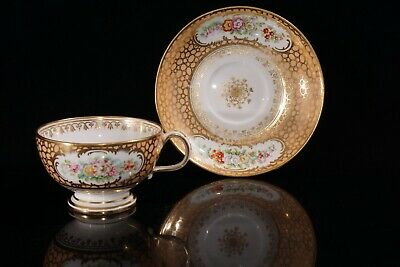 Superb 19th c. antique tea cup &saucer duo, peach, gilding, hand painted flowers
