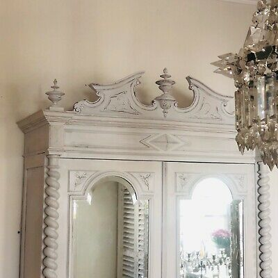 Antique French mirrored double armoire linen press cupboard - Super Condition