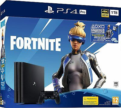 New Sony PlayStation 4 PRO Fortnite 1TB PS4 4K Black UK PAL Video Games Console