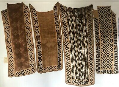Kuba Bushong Embroidered Raffia Cloth Ceremonial Wrap Skirts Collection of Four