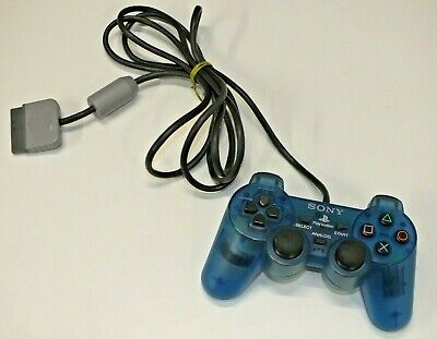 Official Sony PS1 Playstation 1 Dual Shock Analog Controller Transparent Blue