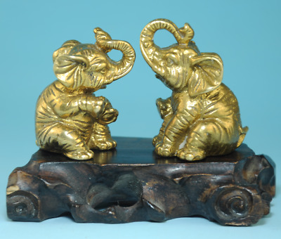 pair china old hand-made brass hand sculpture Elephant antique statue Bb01B
