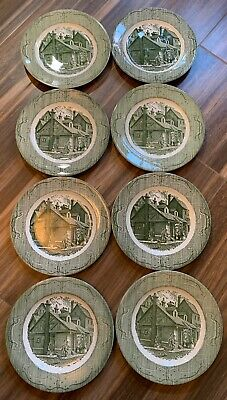 """CURRIER & IVES (8) Dinner Plates 10"""" The Old Curiosity Shop Green Royal China"""