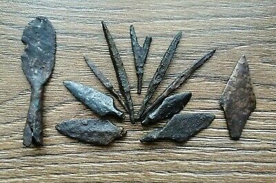 Ancient Iron Arrowheads Viking Age 11 psc