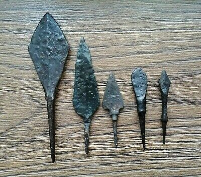 Ancient Iron Arrowheads Viking Age 5 psc