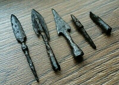 Set of extremely rare Ancient Iron Arrowheads Viking Age 5 psc