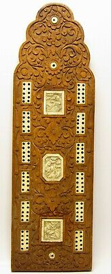 Antique Chinese Asian Decorative Hand Carved Wood Wooden Cribbage Game Board