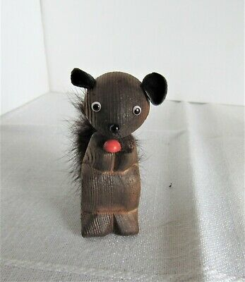 Vintage Cryptomeria Hand Carved Squirrel Made In Japan